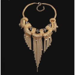 Gold Plated Tassel Pendant Statement Necklace Solaris