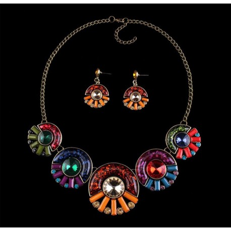 Jewelry Set with Necklace and Earrings Aurora Boreal