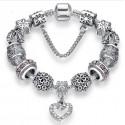 Crystal Heart Charm Bracelet European style