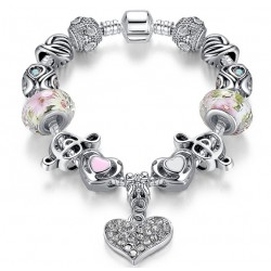 Heart Pendant & Crystal Bead Charms Europe Bracelet