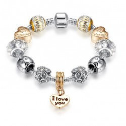 I LOVE YOU & Valentine Heart Beads European Style Blacelet