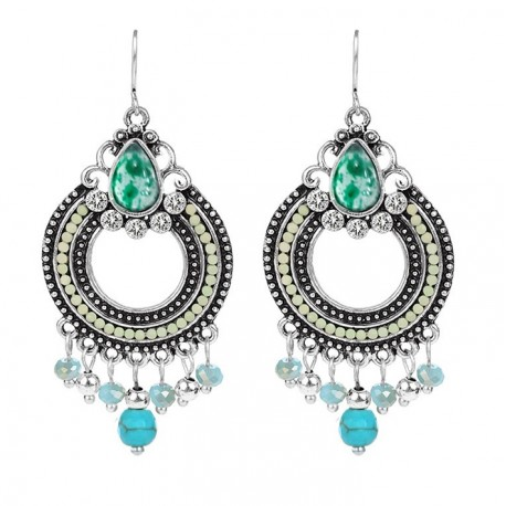 Indian Ethnic Style Earrings with Blue Stones