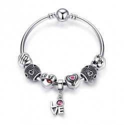 Romantic Love Pendant Charms Bracelet