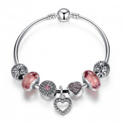 Romantic Silver Heart Pendant Bracelet with Pink Murano Glass Beads