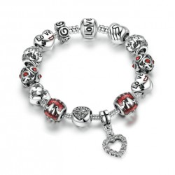 Red Glass Bead & Love Heart Charm Bracelet