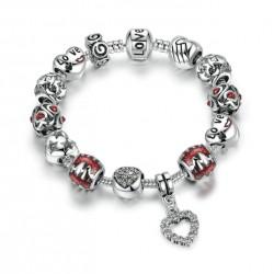 Red Glass Bead & Love Heart Charm Bracelet