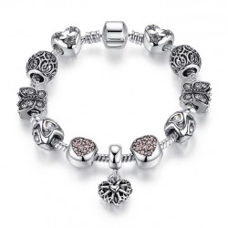 European Classic Silver plated Heart Charms Bracelet