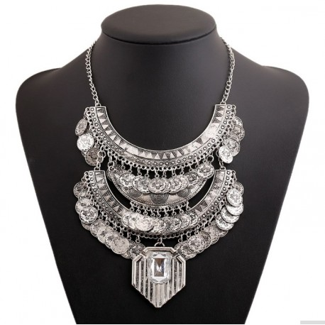 Big Vintage Chunky Coin Bohemian Necklace Sciacca