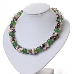 Natural Aventurine, Amethyst, Olivine, Quartz and Pearls Necklace