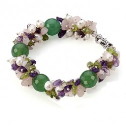 Natural Aventurine, Amethyst, Olivine, Quartz and Pearls Bracelet