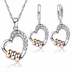 Crystal Hollow Heart with Three Rings Necklace Earrings Set