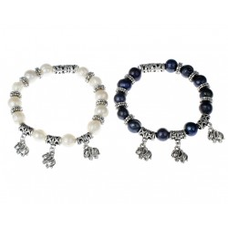 Black or White Freshwater Pearl Bracelet with Elephants