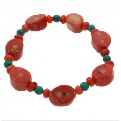 Natural Orange Coral and Turquoise Bracelet