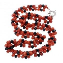 Natural Red Coral Beads and Black Crystals necklace