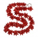 Natural Red Coral Flowers Necklace