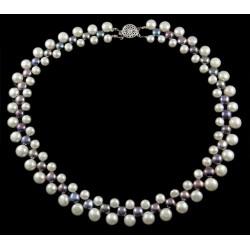 Collar de perlas naturales de dos tonos