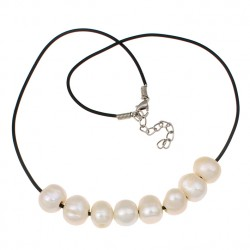 Natural Freshwater Pearl Necklace with Rubber Cord