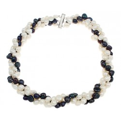 Twisted three Layers Necklace with White and Black Natural Pearls