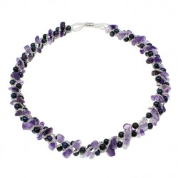 Natural Freshwater Pearl Necklace, with Glass Seed Beads & Amethyst