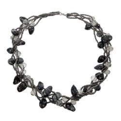 Collar de perlas negras Keishi y cristales