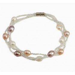 Pulsera trenzada con perla natural tonos suaves