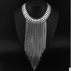 Maxi Tassels Necklace Silver Cascade