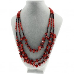 Natural Coral Necklace, with Black Crystal Beads in Three Layers