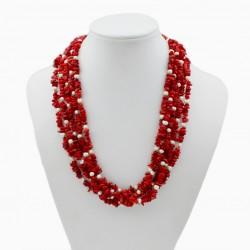 Collar de Coral rojo natural y Perlas blancas de Agua Dulce