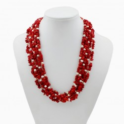 Natural Coral Necklace with Freshwater Pearl