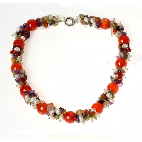 Natural Carnelian, Amethyst, Olivine, Quartz and Pearls Necklace