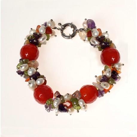 Natural Carnelian, Amethyst, Olivine, Quartz and Pearls Bracelet