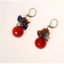 Natural Carnelian, Amethyst, Olivine, Quartz and Pearls Earrings