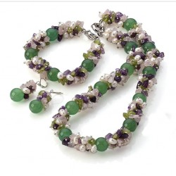Natural Aventurine, Amethyst, Olivine, Quartz and Pearls Jewelry set