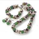 Natural Aventurine, Amethyst, Olivine, Quartz and Pearls Jewelry set