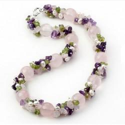 Collar con Cuarzo rosa, Amatista, Olivine y Perlas naturales