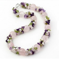 Natural Pink Quartz, Amethyst, Olivine, Quartz and Pearls Necklace