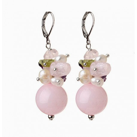 Natural Pink Quartz, Amethyst, Olivine and Pearls Earrings