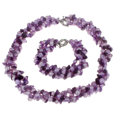 Natural Cultured Freshwater Pearl Jewelry Set, Bracelet & Necklace, with Natural Amethyst