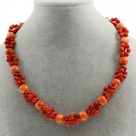 Natural Coral Beads Necklace with two Colours