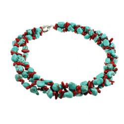 Collar de tres capas en Turquesa y Coral rojo auténtico