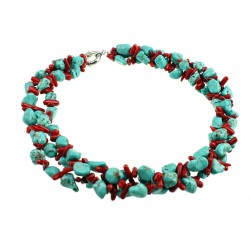 Natural Coral, with Natural Turquoise Necklace