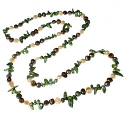 Natural Freshwater Pearl Long Necklace with multi color Pearls