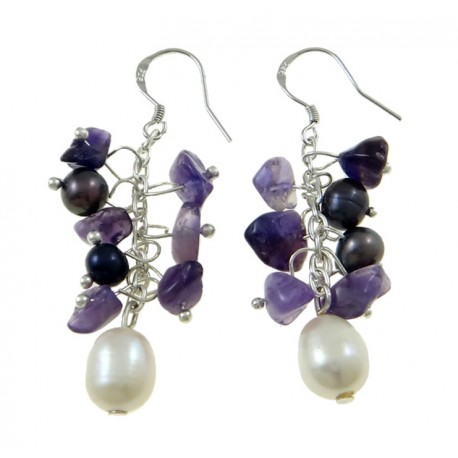 Freshwater Pearl Drop Earring, with Natural Amethyst