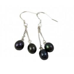 Pendientes con dos perlas negras Agua dulce