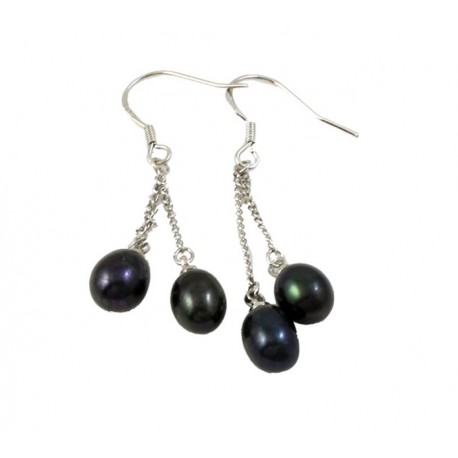 Black Freshwater Pearl Earrings with Two Pearls