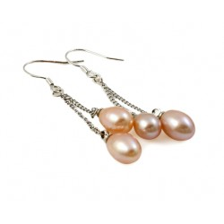 Freshwater Pearl Earrings with Two Pearls Champagne Rose