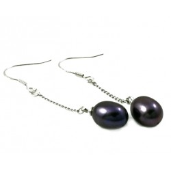 Natural Black Freshwater Pearl Earrings