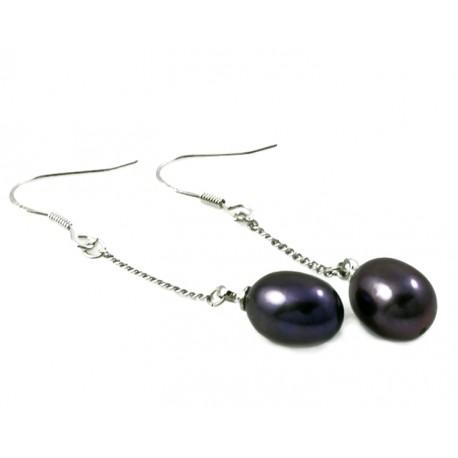 Natural Black Freshwater Pearl Earrings