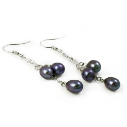 Black Freshwater Pearl Earrings with Three Pearls