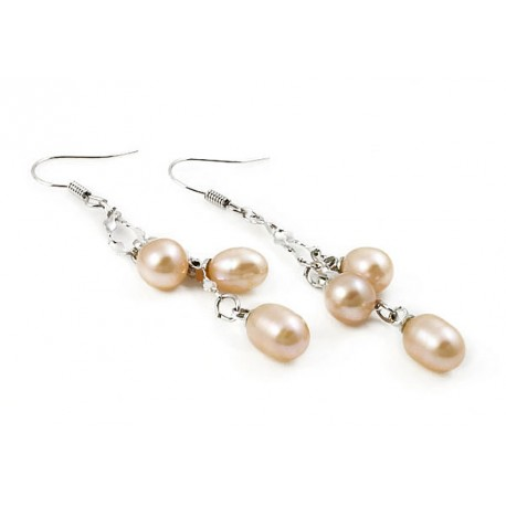 Freshwater Pearl Earrings with Three Pearls Champagne Rose